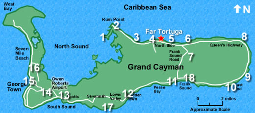 FAR TORTUGA: Stay on Grand Cayman's Peaceful North Coast on belize map, grenada map, acapulco map, tampa bay cruise port terminal map, jamaica map, bermuda map, cozumel map, florida map, bahamas map, grand turk map, st. thomas map, venezuela map, seven mile beach map, mexico map, dominican republic map, hawaii map, caribbean map, aruba map, grand caicos map, grand caymen,